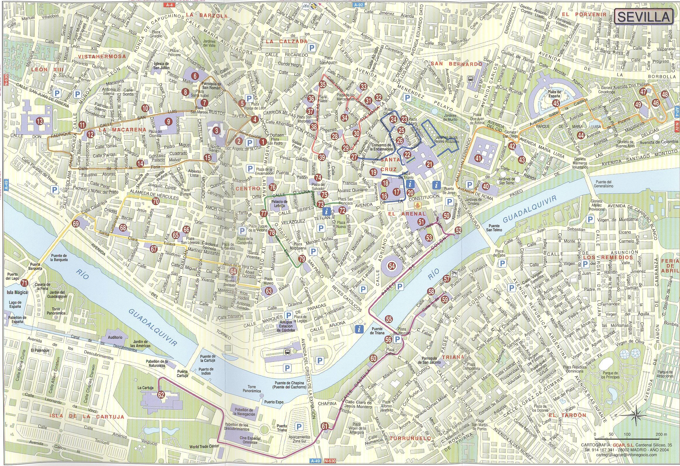 Mapa De Sevilla Capital Callejero.Sevilla Mapa Ulica Mapa Ulica Grada Seville U Spanjolskoj
